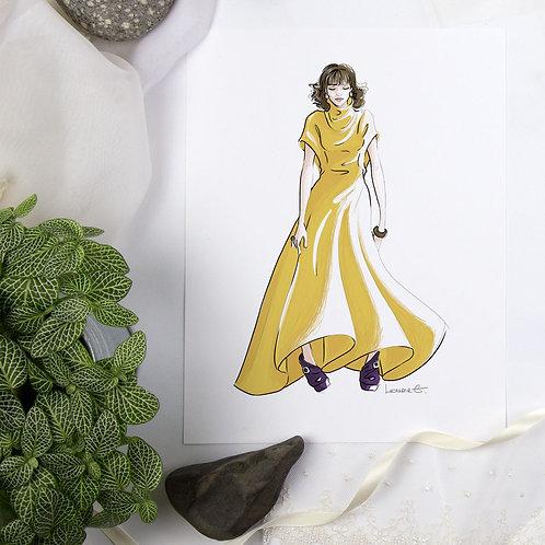 Beatrice - Fashion illustration print, 8.5x11