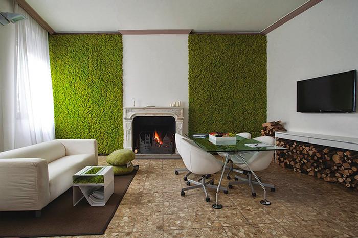 Preserved Moss Vertical Garden in Interior Design, Living Room
