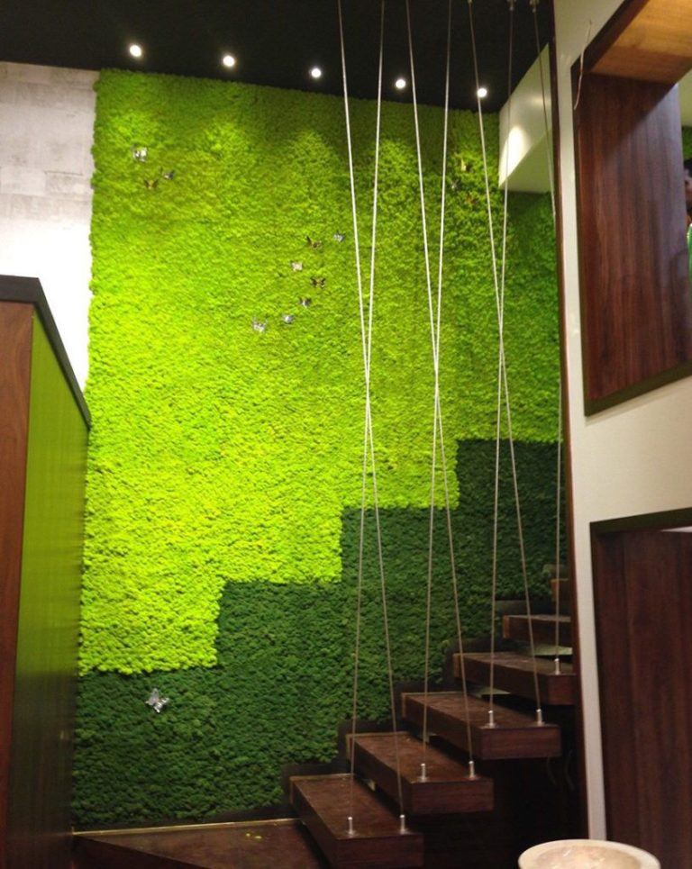 Colorful Preserved Moss Vertical Garden stairway
