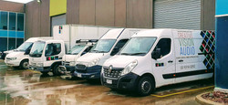 Our vans lined up for an early start