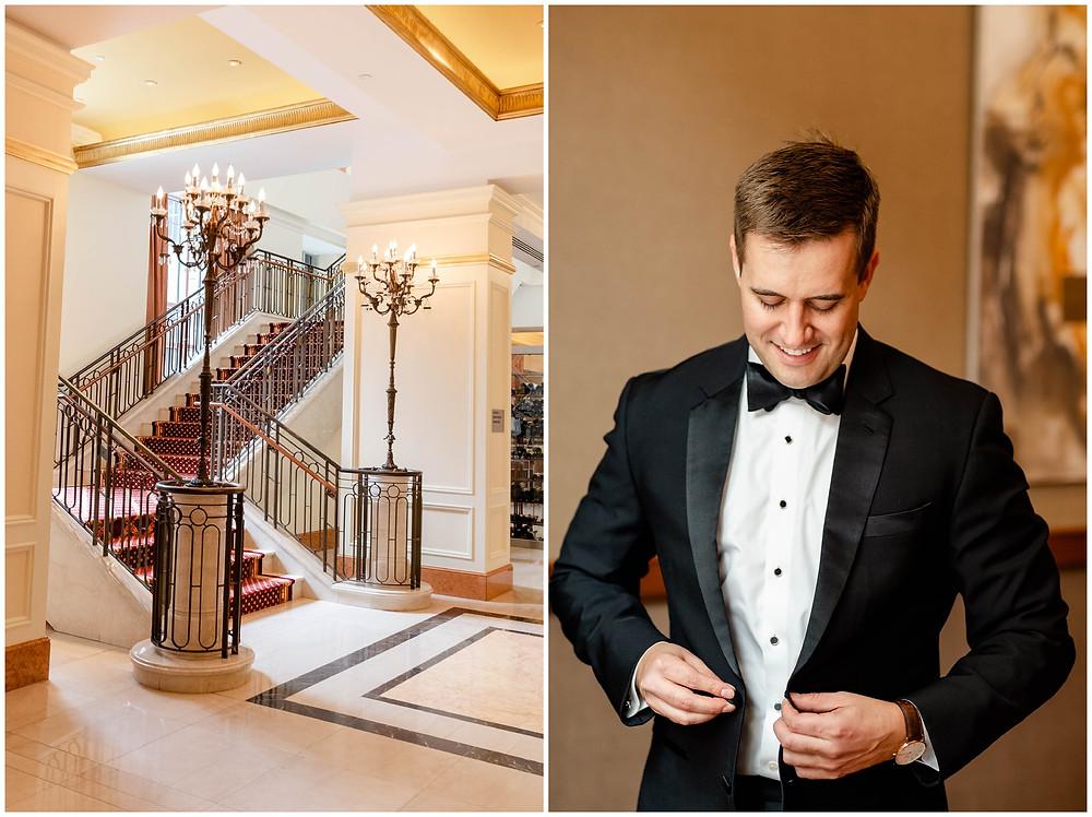 Groom-getting-ready-conrad-hotel-indianapolis