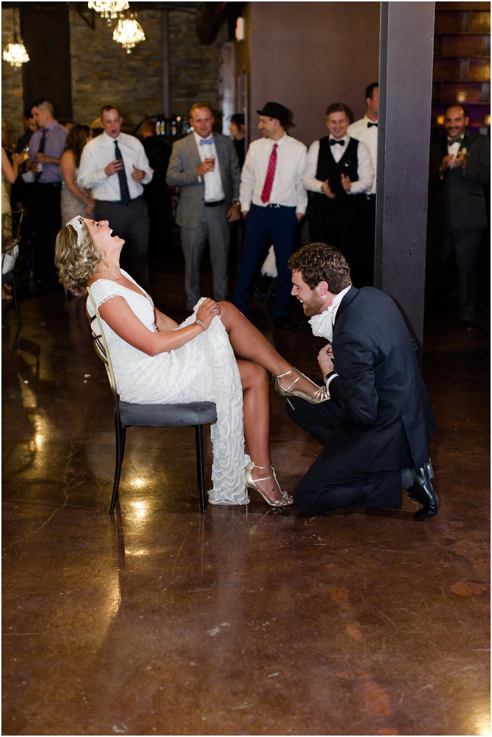 Bride and groom garter toss