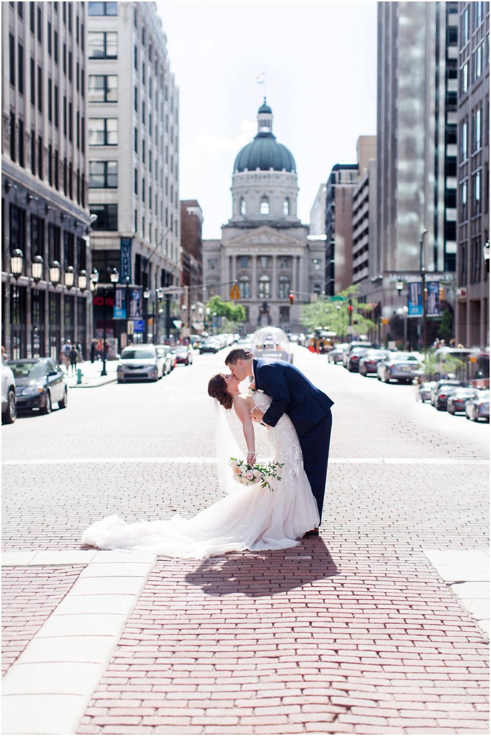 Monument Circle wedding photos