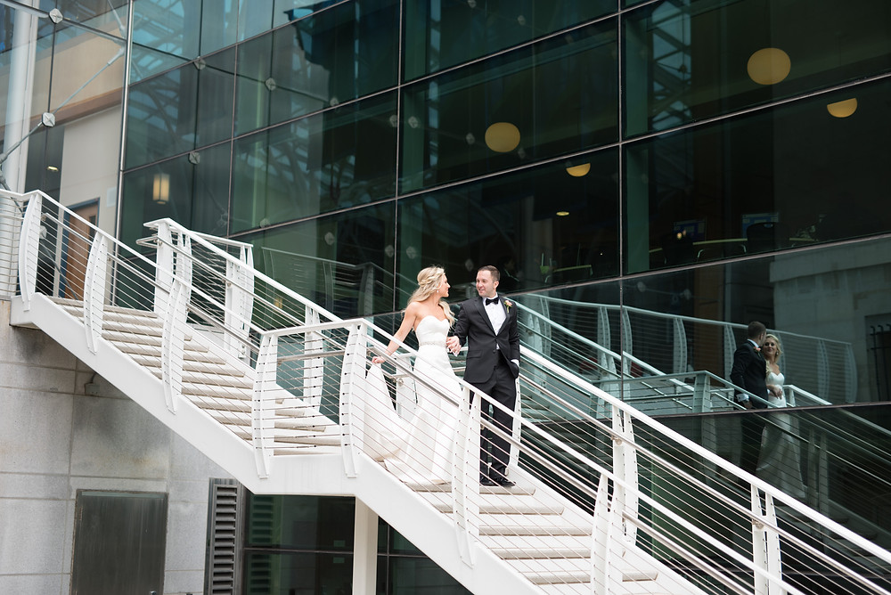 Bride walking down steps