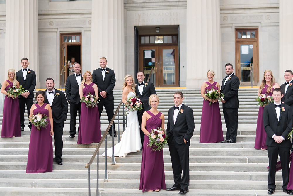 Central Library front steps bridal party pictures