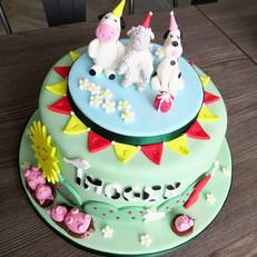 Farmyard Animal Themed Birthday Cake