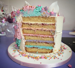 Unicorn Themed Cake Cross Section