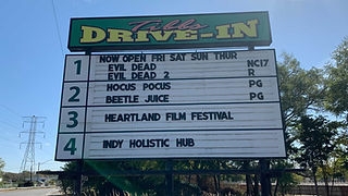 A drive in theater marquee