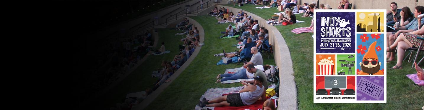 An outdoor film screening