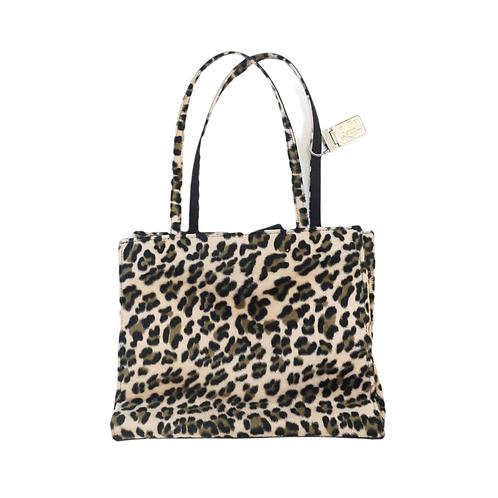 Leopard Print Velour Handbag
