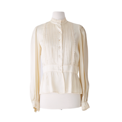 Cream Satin Pintuck-pleated Bouse