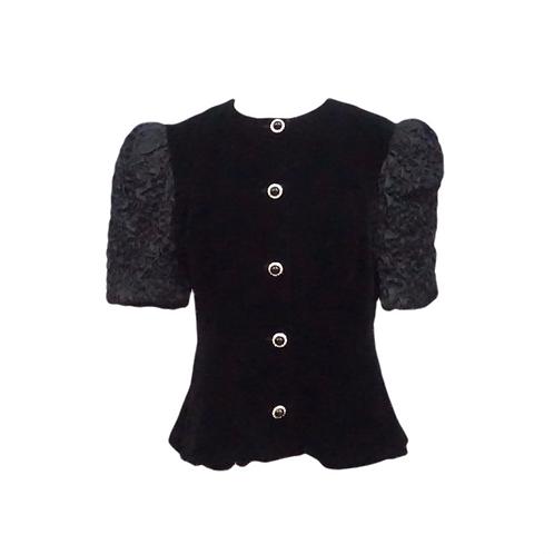 Black Velvet Button Up Blouse