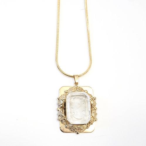 Gold Baroque Portrait Necklace