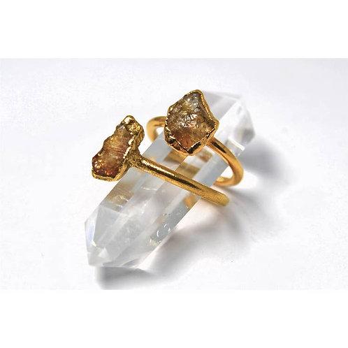 Gold Raw Citrine Ring