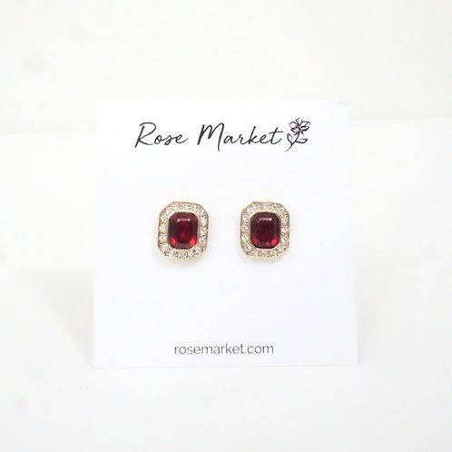 Square Red & Rhinestone Earring
