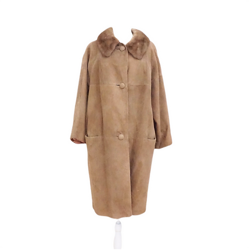 Tan Leather Coat with Fur Collar