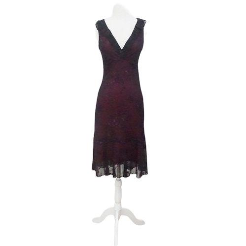 Black & Pink Rose Midi Dress