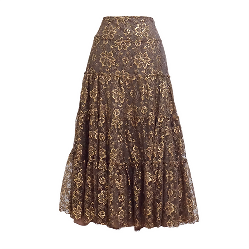 Long Floral Gold Lace Skirt