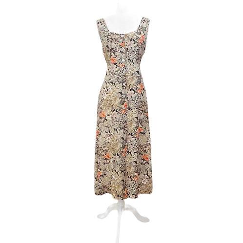 Neutral Tropical Print Button Down Dress