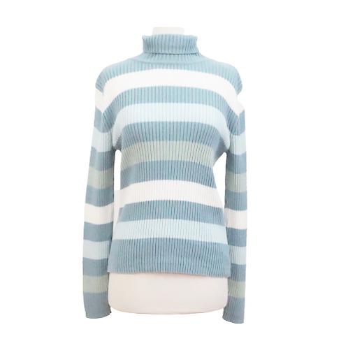 Blue Striped Turtleneck Sweater