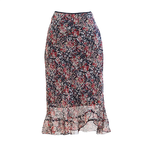 Black Floral Stretch Midi Skirt