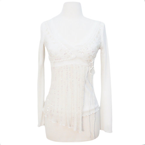 White Mesh Top with Sequins