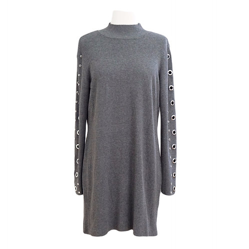 Grey Sweater Dress With Hardware