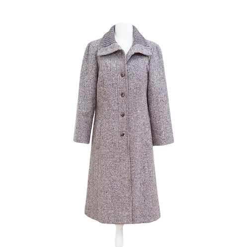 Long Purple Tweed Coat