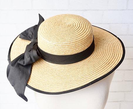Wide Brim Straw Hat with Black Ribbon