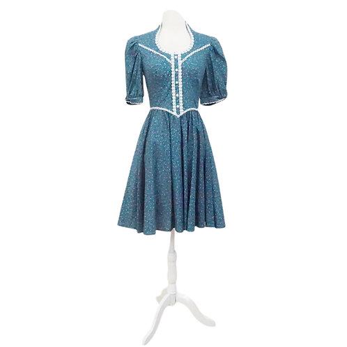 Teal Floral Prairie Dress
