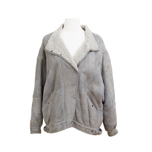 Vintage Grey Shearling Bomber Jacket