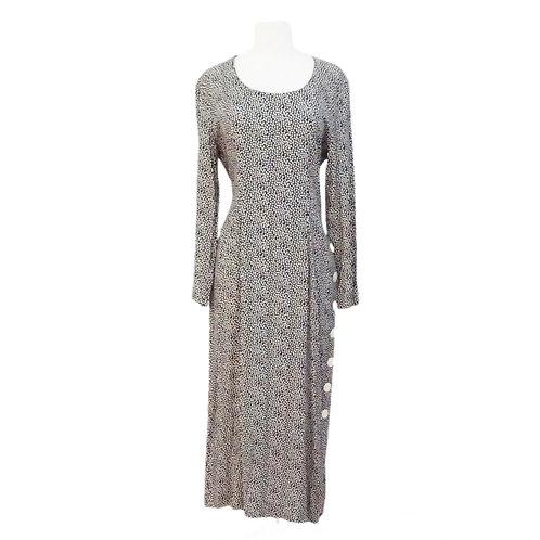 Black & Beige Polka Dot Long Sleeve Dress