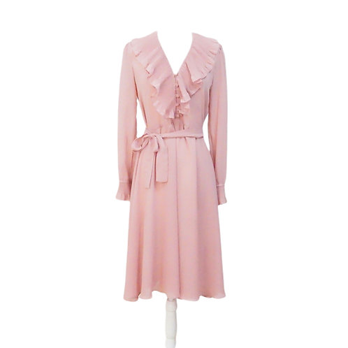 Pink Sheer Midi Dress with Tie