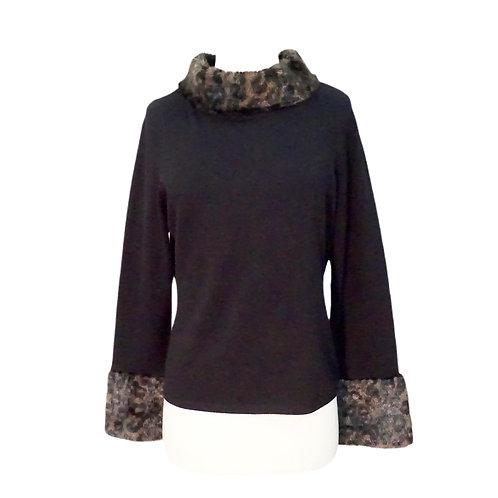 Black Sweater with Leopard Trim