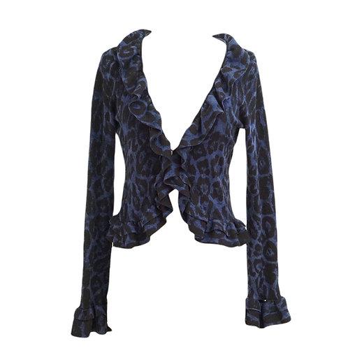 Blue Leopard Print Ruffled Cardigan