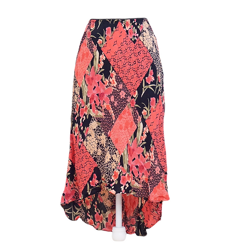 Pink and Black Hi-Lo Stretch Midi Skirt
