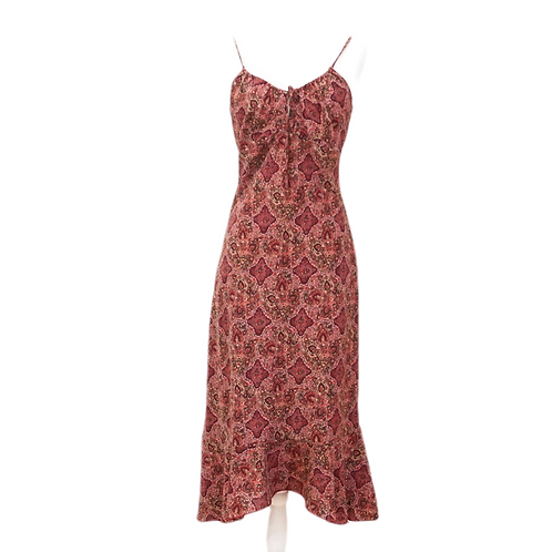 Burgundy Paisley Peasant Dress
