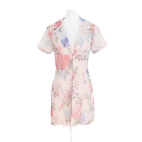 Pink Floral Layered Mini Dress