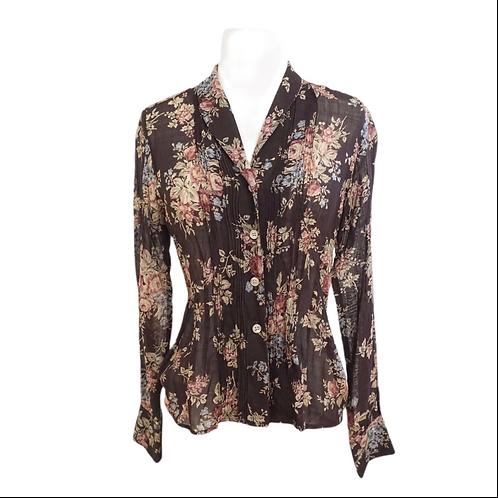 Brown Floral Wool Blouse