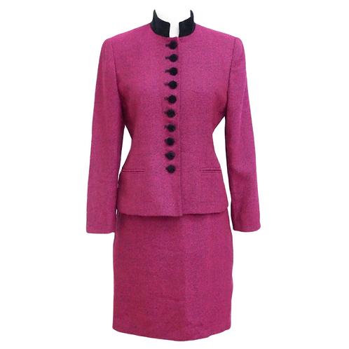 Fuchsia Tweed Skirt Suit Set