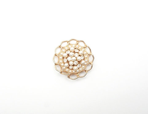 Gold & Pearl Round Broach