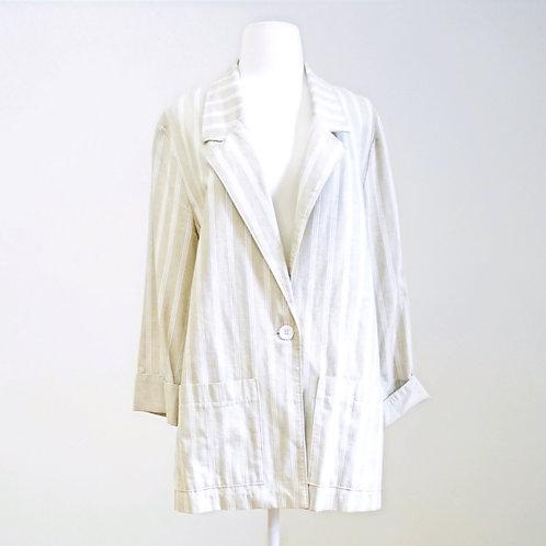 Beige & White Striped Blazer