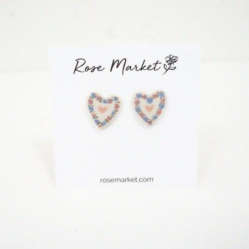 Vintage Heart Painted Earring