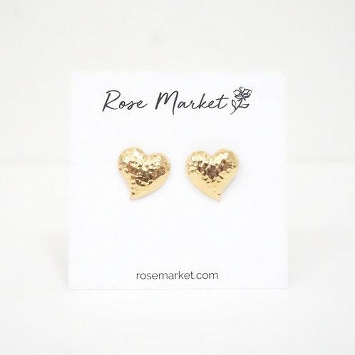Gold Heart Post Earring