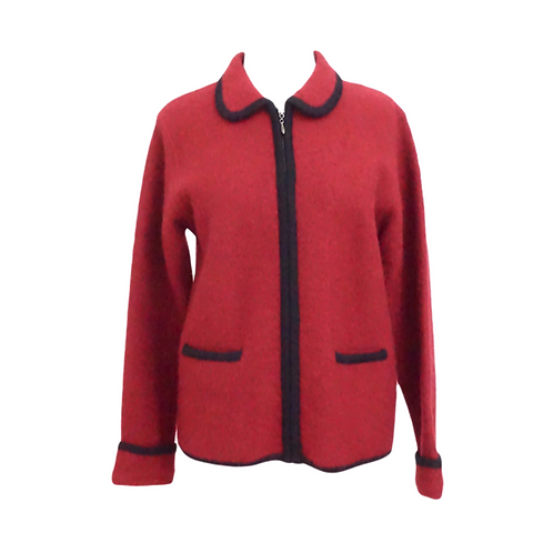 Red Wool Zip Up Sweater
