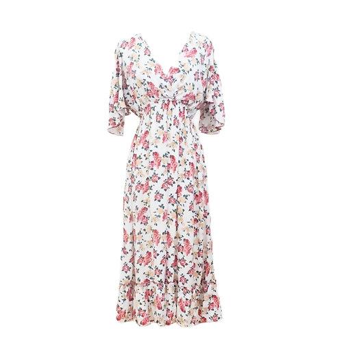 Ruffled Rose Midi Dress