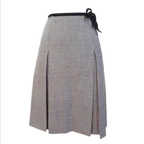 Houndstooth Pleated Midi Skirt