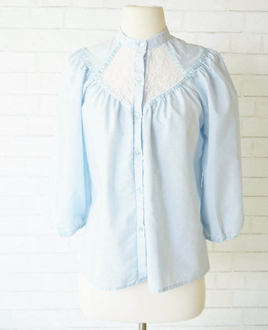 Blue Blouse with Lace