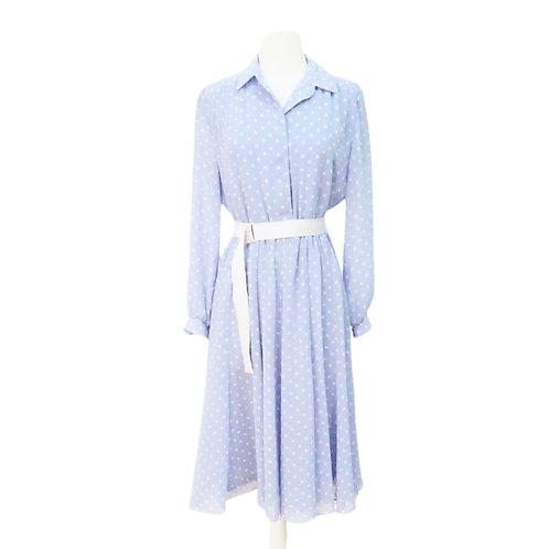 Purple Polka Dot Midi Dress