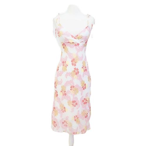 White & Pink Tropical Midi Dress